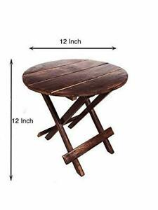 Beautiful Wooden Folding Side Table wooden round stand Home Decor Art Gift