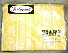 Vintahe Lady Pepperell Yellow Floral Fitted Sheet New! 1970's