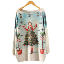 Christmas AU Womens Batwing Long Sleeve Knitted Knit Sweater Knitwear Loose Tops