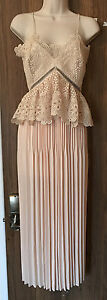 SELF-PORTRAIT Lace Peplum Midi Dress - Cream -  UK 14/US 10