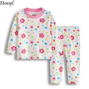 Girl Flower Pajamas Suit Baby Clothes Set Toddler pijama shirt Pant 0-2Year