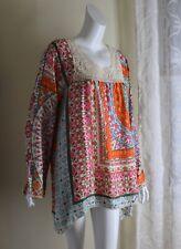 NEW Johnny Was -Sz L Amazing Folk Lace Boho Exquisite Art Long Silk Tunic Top