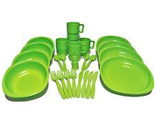 26 PZ in plastica Picnic/Campeggio/Barbecue/Party Piatto Ciotola Tazza Posate Verde