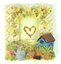 "Garden Gardening Flowers Birdhouse Lattice 2.5""x3.5"" Picture Frame Tabletop NWT"