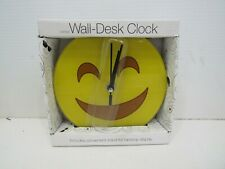 """Emjoi Smiley Face Wall or Tabletop Desk Clock With Stand 6.75"""" Diameter"""