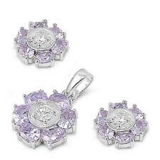 USA Seller Flower 3pcs Set Sterling Silver 925 Best Deal Jewelry Gift Lavender