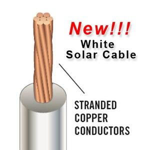 White PHOTOVOLTAIC PV Solar Power Cable -Free Shipping- Wire 10AWG UL 4703 USE-2