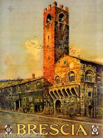 ITALY BRESCIA BROLETTO PALACE PIAZZA DEL DUOMO TRAVEL VINTAGE POSTER REPRO