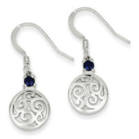 925 Sterling Silver & Iolite Round Polished Filigree Dangle Earrings