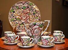"MYOTT BERMUDA Brown Multi DEMITASSE DESSERT SET w/TEA COFFEE POT 11"" CAKE PLATE"
