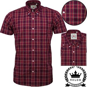 Relco Mens Burgundy Red Check Short Sleeve Button Down Shirt Spring '21 Range