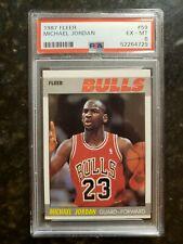 MICHAEL JORDAN 1987 FLEER PSA 6 EX-MT Chicago Bulls HOF #59 Super Clean