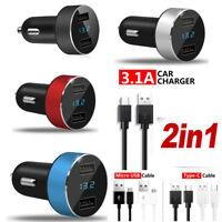 3.1A Dual USB Car Charger 2 Port LCD Display 12-24V Cigarette Socket Lighter New