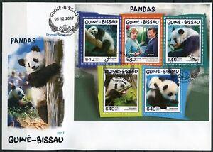 GUINEA BISSAU 2017 PANDAS SHEET FIRST DAY COVER