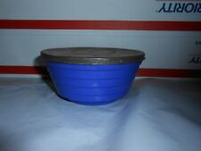 RARE VTG BLUE & WHITE GLASS 12 OZ CREAMED COTTAGE CHEESE BOWL CONTAINER & LID