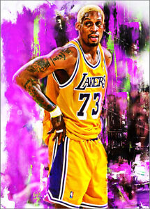 2021 Dennis Rodman Los Angeles Lakers 2/25 Art ACEO Print Card By:Q