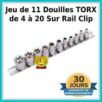 """Jeu 11 Douille Femelle TORX E4 à E20 Carré 1/4 et 3/8"""" Chrome Vanadium Auto Moto"""