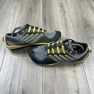 Merrell Trail Glove Barefoot Shoes Men's 10.5 Gray Yellow Sneaker Vibram Sole