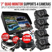 "7"" Quad Monitor Split screen 12-24V 4Pin CCD Reversing Camera x4 For Caravan Van"