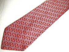 "Christian Lacroix Mens Necktie Tie Red Blue Geometric Silk 62"" Long"