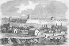 CHINA. Opium Wars. Tien-Tsin, banks of Peiho River, antique print, 1860