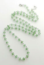 Light green glass crystal bead long necklace .. silver plated glam jewellery