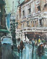 Landscape Painting Watercolor Original Paris Cityscape Impressionism  14x12 in