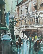Landscape Painting Watercolor Original Paris Cityscape Impressionism  14x12 in