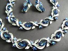 VINTAGE LISNER NECKLACE CHOKER BRACELET EARRING SET BLUE MARQUISE RHINESTONE