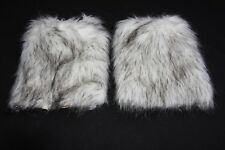 Ladies White / Black Intricate Detailed Fluffy Statement Leg Warmers (S228A)