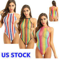 US _Womens Mesh See Through Thong Rainbow Bodysuit Bikini Bathing Suit Swimwear