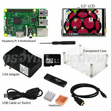 """10 in 1 Raspberry Pi 3 Complete Kit w/ Pi3 Mainboard + 3.5"""" LCD + 2.5A Adapter"""