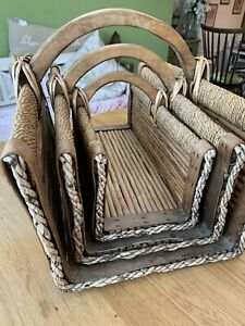 Set of 3 Vintage Wicker, Wood & Willow Log/Flower/Display/Fire Baskets/Trugs