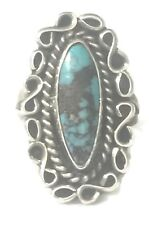 Vintage Long Turquoise Navajo Native American Sterling Silver Women Ring Size 6