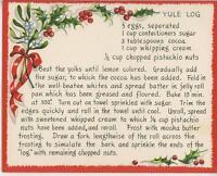 VINTAGE CHRISTMAS YULE LOG PISTACHIO CAKE RECIPE 1 GIBSON FOLK ART HOUSE CARD