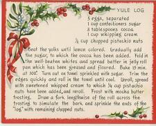 VINTAGE CHRISTMAS YULE LOG PISTACHIO CAKE RECIPE 1 GINGERBREAD TEA CUP POT CARD