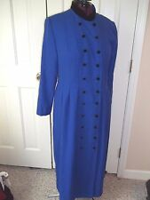 MELISSA HARPER LADIES SIZE 12 DRESS LONG BLUE DOUBLE BUTTON UP LONG SLEEVES