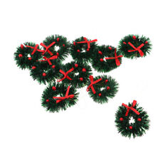 1:12 Dollhouse Miniature Hanging Ornament Christmas Wreath With Red Bow 10pc