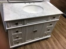 White Bathroom Vanity and Sink Combo 42 inch Modern Cabinet Carrara Marble Top