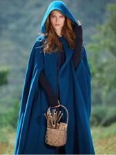 US NEW Women Warm Hooded Wool Blend Long Cape Cloak Jacket Costume Poncho Coat