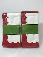 Kate Spade Colorblock Scallop Napkins - Set of 8 - Cranberry Red - New