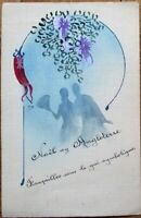 Original Art/Hand-Painted 1919 Postcard: French Couple, Christmas in England