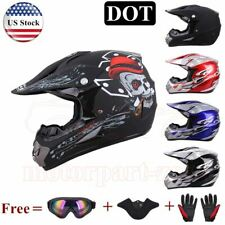 DOT Adult Motocross ATV Dirt Bike UTV Off Road Helmet + Goggles + Gloves + Mask
