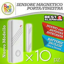 KIT10 SENSORI MAGNETICI BIANCHI PORTE/FINESTR WIRELESS ANTIFURTO ALLARME A-B-N-X