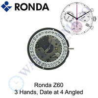 Genuine Ronda Z60 Watch Movement Swiss Parts 3 Hands, Date at 4 Angled