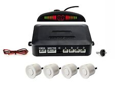 Zone Tech White Parking 4 Radar Backup Reverse Sensors Led System Display Alarm