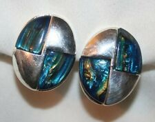Shiny Sloped Oval Marbly Silvertone Checkerboard CLIP Earrings ++++