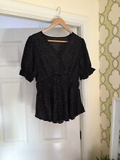 Ladies Shein Top Blouse Puff Sleeve Black Size L 10/12/14