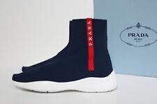 New sz 7.5 / 38 PRADA Navy Blue Logo Band Sock Ankle Sneaker Slip on Shoes
