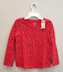 Girls' Cat & Jack Red Pop Shimmery Star Print Long-Sleeve Shirt, Medium Plus